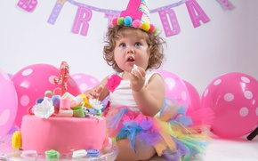 Wallpaper balloons, baby, holiday, birthday, balls, cake, girl