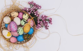 Picture basket, eggs, Easter, hay, Holiday, decor