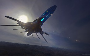 Picture aircraft, alien ship, Juan Novelletto, sketh in