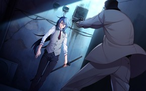 Picture look, man, sword, guy, bandit, Grisaia: Phantom Trigger