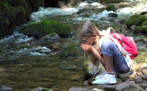 Picture nature, river, girl