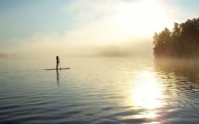 Picture girl, fog, lake, shore, morning, paddle, SUP