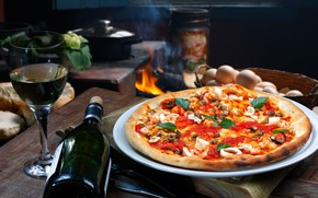 Picture table, fire, wine, glass, bottle, kitchen, oven, pizza, hut, bokeh