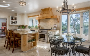Picture design, table, chairs, kitchen