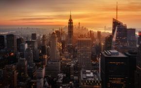 Wallpaper USA, the city, sunset, New York, haze, the evening