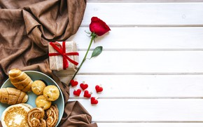 Wallpaper rose, Breakfast, Valentine's Day, hearts, gift, cakes, red, Love