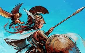Picture bird, God, helmet, spear, shield, goddess, Athena, greek mythology