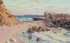 Picture sea, landscape, stones, boat, picture, sail, Arman Hyomin, Armand Guillaumin, Rocks at Saint-Palais. Tide