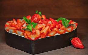 Picture mint, strawberry, pie, sweet, dessert, cream