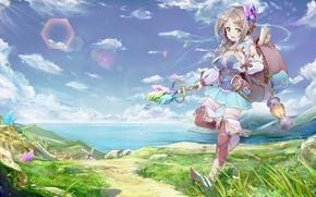 Picture girl, nature, anime, art, shirowa