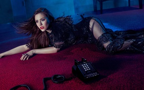 Picture sexy, pose, carpet, makeup, dress, brunette, hairstyle, lies, phone, beauty, on the floor, photoshoot, in …