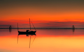 Picture sea, boat, England, silhouette, glow