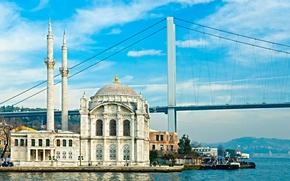 Picture the sky, bridge, mosque, bridge, Istanbul, Turkey, Istanbul, Turkey