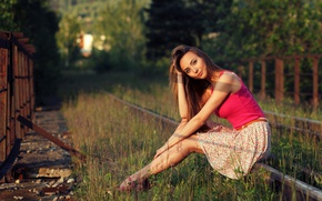 Picture grass, girl, the sun, trees, rails, skirt, makeup, Mike, the fence, hairstyle, shoes, railroad, brown ...