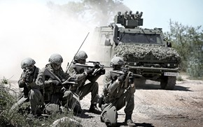 Picture road, army, soldiers, equipment, armored car