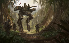 Picture machine, weapons, jungle, soldiers, Jungle Walker D