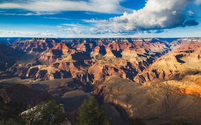Picture the sky, clouds, mountains, rocks, horizon, Colorado, canyon, panorama, AZ, USA, Sunny, The Grand Canyon, …