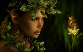 Picture girl, face, foliage, tale, fairy