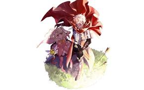 Wallpaper anime, arrows, guy, art, characters, defender, girl, Fate Grand Order
