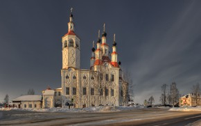 Wallpaper Tot'ma, road, Vologda oblast, winter, The Church of Entry into Jerusalem, Russia