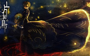 Picture butterfly, night, cell, characters, witch, pentagram, bangs, Umineko no Naku Koro ni, Beatrice, When the ...