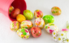 Picture flowers, Easter, flowers, spring, Easter, eggs, decoration, Happy, the painted eggs