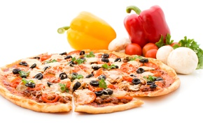 Picture Olives, Pepper, Tomatoes, Food, Pizza, Fast food