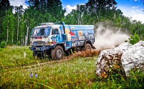 Picture Grass, Trees, Forest, Sport, Speed, Race, Master, Dirt, Squirt, Russia, Kamaz, Rally, Rally, KAMAZ, 312, …