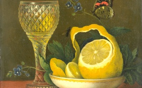 Wallpaper tree, butterfly, oil, picture, Still life with Lemon and Glass Crystal, Maria Margaretha van OS