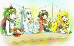 Picture white, joy, yellow, table, black, food, fish, art, red, white, black, yellow, Ruby, White Snow, …