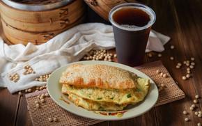 Picture coffee, bun, omelette