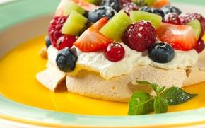 Picture fruit, dessert, meringue, Pavlova