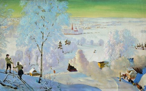 Wallpaper winter, oil, train, Skiers, couples, sleigh, Canvas, Boris KUSTODIEV, 1919