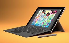 Picture Microsoft, logo, tablet, hybrid tablet, Microsoft Surface Pro 4