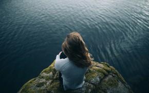 Picture sea, girl, rock, height, moss, brown hair, sweater, bokeh