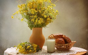 Picture flowers, glass, table, chamomile, milk, vase, still life, muffin, yellow, tablecloth, buns
