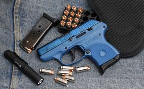 Picture gun, flashlight, cartridges, Ruger