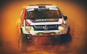 Picture Auto, Dust, Machine, Logo, Lights, Rally, SUV, Rally, Duster, The front, Renauly, Renault Duster