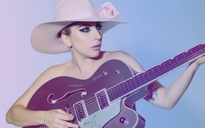 Wallpaper guitar, SNL, Lady GaGa, makeup, hairstyle, singer, Mary Ellen Matthews, Lady Gaga, background, hat