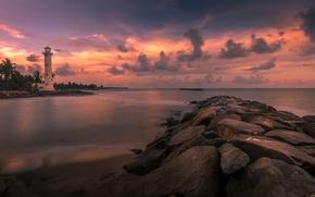 Picture sea, clouds, lighthouse, island, glow, Sri Lanka