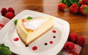 Picture raspberry, strawberry, dessert, cheese, cheesecake