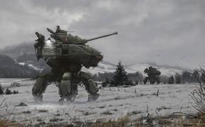 Picture weapons, transport, English Walking Tanks