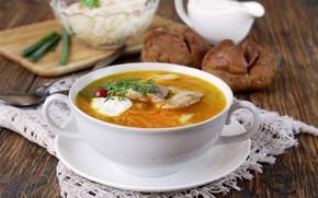Picture bread, soup, sour cream