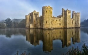 Picture water, fog, reflection, castle, tower, vintage
