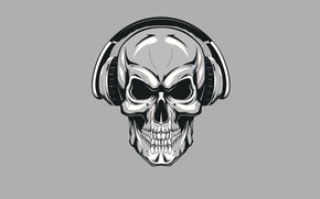 Wallpaper skull, headphones, skeleton, sake, minimalism