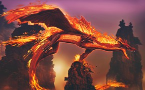 Picture fire, fantasy, Dragon, horns, wings, tail, rocks, digital art, artwork, fantasy art, flames