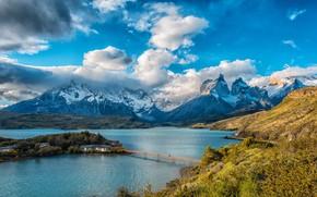 Picture the sky, the sun, clouds, trees, mountains, bridge, lake, rocks, houses, island, Chile, Lake Pehoe, …