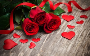 Wallpaper red roses, buds, heart, love, wood, valentine`s day, roses, romantic, roses, red, flowers