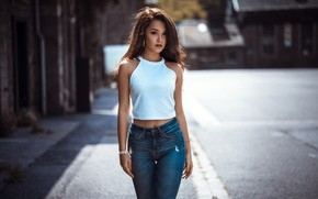Picture road, the sun, street, model, jeans, makeup, Mike, figure, slim, hairstyle, brown hair, beauty, Elena, …
