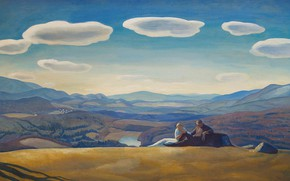 Picture clouds, landscape, mountains, picture, Nirvana, Rockwell Kent, Rockwell Kent